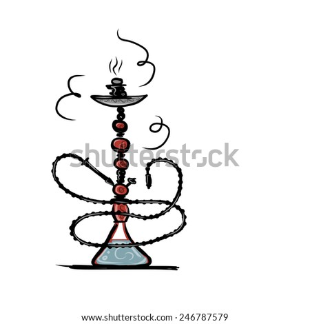 Hookah sketch for your design. Vector illustration - stock vector