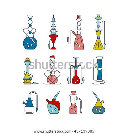 Hookah vector linear icons illustration. Set of hookah vector icons isolated on white background. Hookah vector logo line collection. Smoking hookah vector - stock vector