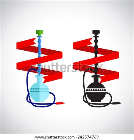 Hookah with banner on gray background - vector illustration. Eps10.
