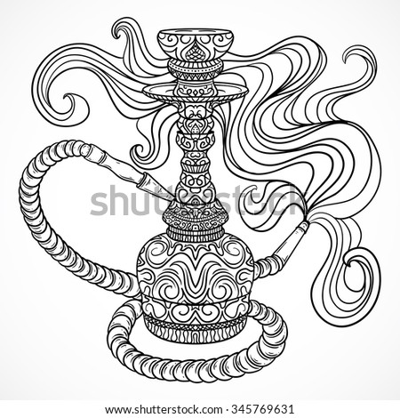 Hookah with oriental ornament and smoke.Vintage vector hand drawn illustration