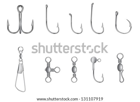hooks and other fishing equipment vector illustration - stock vector
