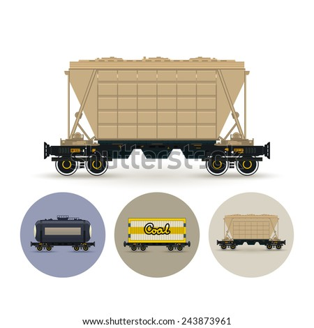 Hopper car for mass transit fertilizer, cement, grain and other bulk cargo. Set of round colorful icons , icon  railway car the tank, icon railway wagon , icon hopper car for mass transit bulk cargo - stock vector