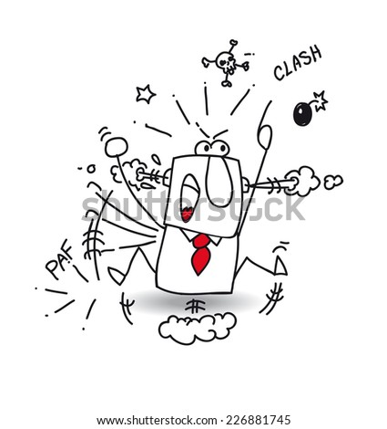 Hopping mad. Joe the businessman is very angry. he throws a tantrum - stock vector
