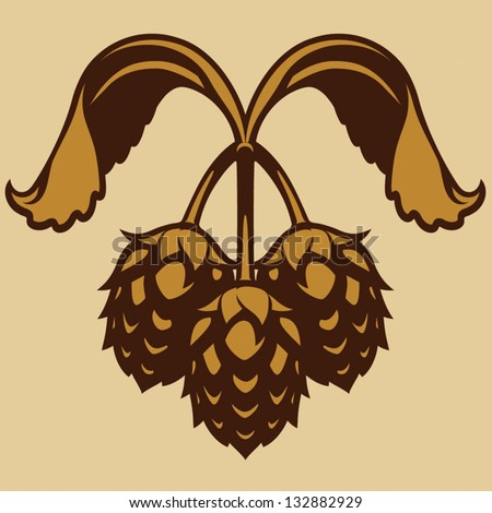 Hops vector visual simplified graphic icon or logo, ideal for beer, stout, ale, lager, bitter labels & packaging etc, on gold background. - stock vector
