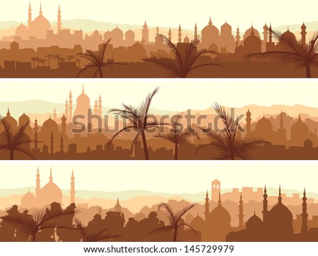 Horizontal abstract banners of arab city with palm trees at sunset. - stock vector