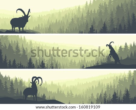 Horizontal abstract banners of hills of coniferous wood with mountain goats in green tone. - stock vector