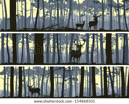 Horizontal abstract banners of wild deer in forest with trunks of trees. - stock vector