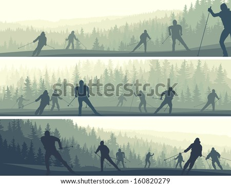 Horizontal abstract banners skiers in misty hills of coniferous forest (green tone).