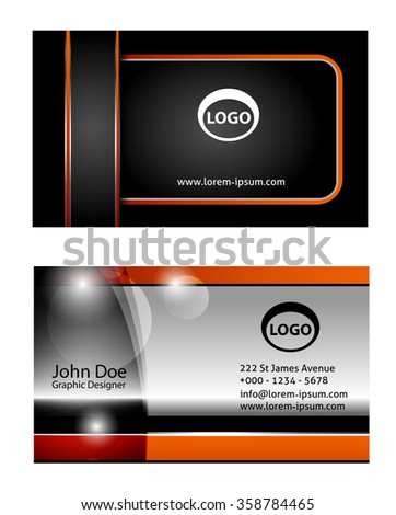Horizontal abstract business cards