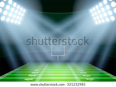 Horizontal Background for posters night american football stadium in the spotlight. Editable Vector Illustration.