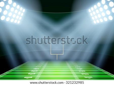 Horizontal Background for posters night american football stadium in the spotlight. Editable Vector Illustration. - stock vector