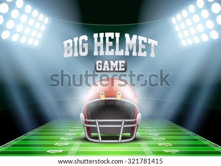 Horizontal Background for posters night american football stadium in the spotlight with big sport helmet. Editable Vector Illustration. - stock vector