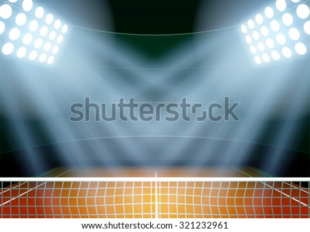Horizontal Background for posters night tennis stadium in the spotlight. Editable Vector Illustration. - stock vector