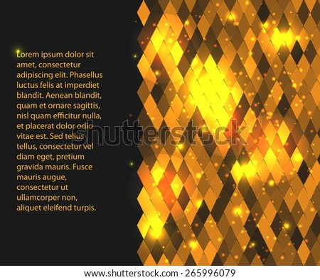 horizontal background for your text or presentation  with gold rhombus - stock vector