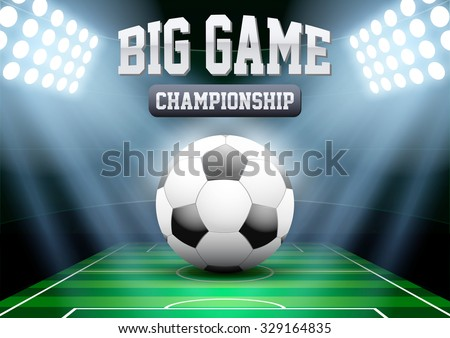 Horizontal Background night football soccer stadium in the spotlight with big ball. Editable Vector Illustration. - stock vector