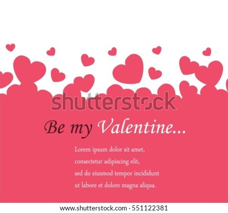 horizontal background Valentine's Day with pink and white hearts and space for text