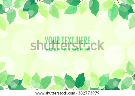 Horizontal background with fresh green spring leaves and bokeh. Retro vector template. Place for your text. Design for invitation, banner, card, poster, flyer - stock vector