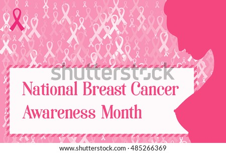 Horizontal banner for Breast Cancer Awareness Month. Illustration pink ribbon breast cancer. Silhouette of a nude woman