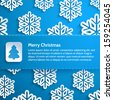 Horizontal banner on a blue background with snowflakes. Design elements for holiday cards. Cover for the book. Christmas vector illustration. - stock vector