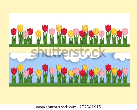 Horizontal banner with paper tulips. Spring web banner decorated with colorful origami tulips. Vector - stock vector