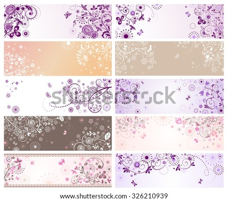 Horizontal banners for wedding design - stock vector