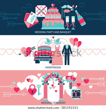 Horizontal banners set presenting wedding party and banquet honeymoon for just married and ceremony flat vector illustration - stock vector