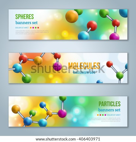 Horizontal Banners Set with Abstract molecules design. Vector illustration. Atoms. Medical scientific background for banner or flyer. Molecular structure with colorful spherical particles. - stock vector