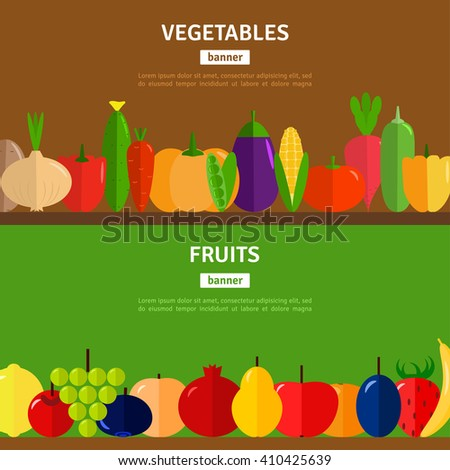 Horizontal banners set with vegetables and fruits. Vector illustration. Healthy eating concept, vegetarian diet. - stock vector