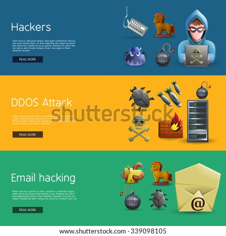 Horizontal  banners with icons of hacker activity and DDOS attacks  on computer systems  and e-mail hacking vector illustration - stock vector
