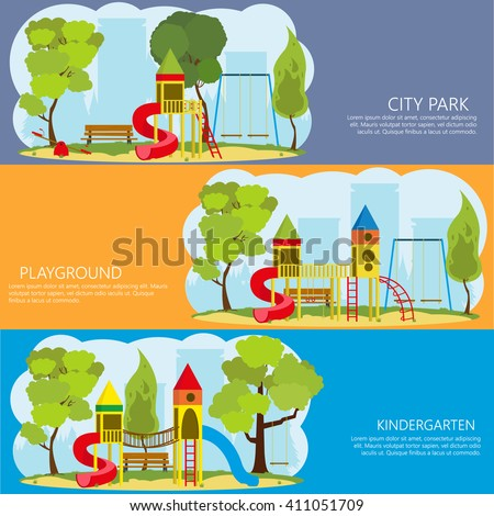 horizontal banners with information about the playground outdoors. vector. a children's playground in the park. colorful banner for a children's playground. - stock vector