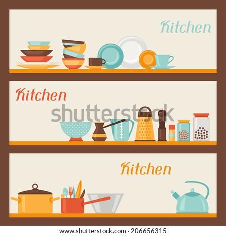 Restaurant Kitchen Illustration vector set kitchen utensils cooking illustration stock vector