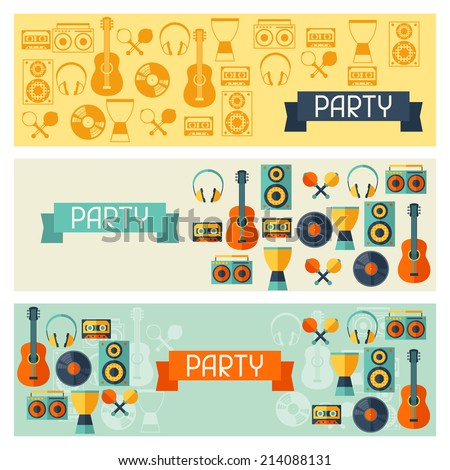Horizontal banners with musical instruments in flat style. - stock vector