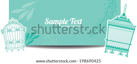 horizontal banners with vintage birdcage. vector eps10 - stock vector