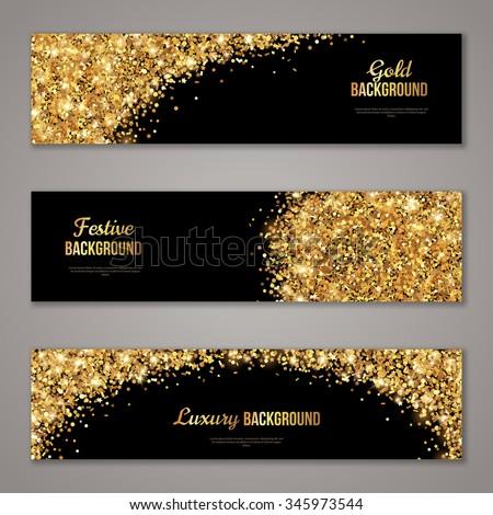 Horizontal black gold banners set greeting stock vector 345973544 horizontal black and gold banners set greeting card design golden dust vector illustration stopboris Images