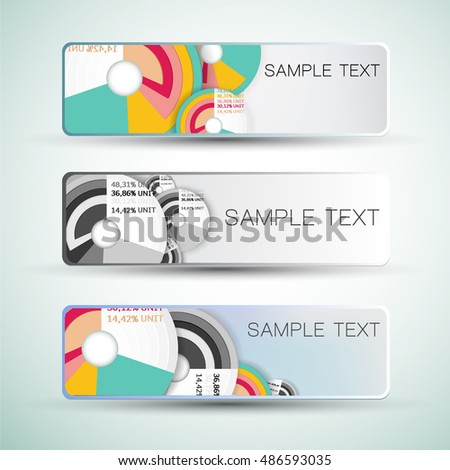 Horizontal business abstract banners with colorful diagrams template and sample text isolated on white background flat vector illustration