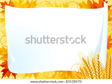 horizontal card for thanksgiving - stock vector