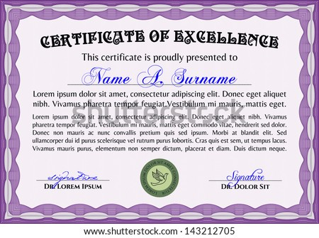 Vector Illustration Horizontal Certificate Diploma Coupon Stock