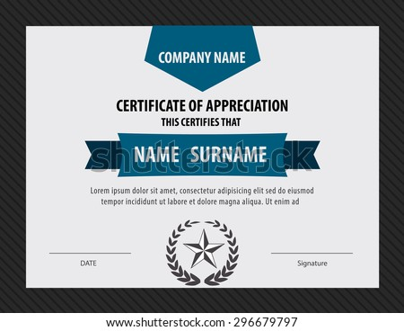 Horizontal Certificate Templatediploma Letter Size Vector Stock