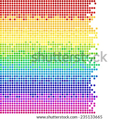 horizontal colored dots on white background, bright mosaic pixels, vector illustration - you can change the background color and the color of dots - stock vector