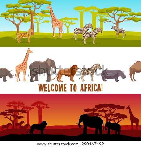 Horizontal colorful African animals with trees banners set isolated vector illustration - stock vector