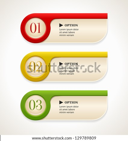Horizontal colorful options banners/buttons template. Vector illustration - stock vector