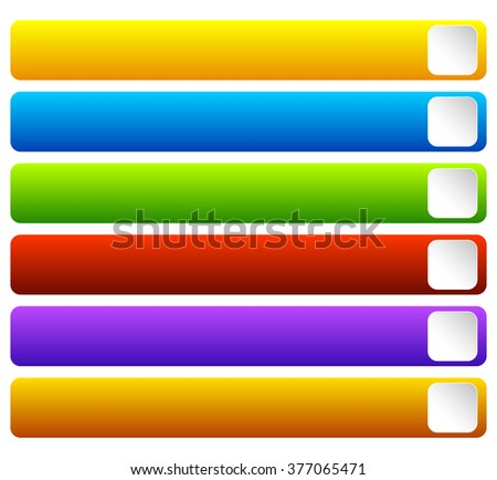 Horizontal, colorful vivid buttons with blank space for texts - stock vector