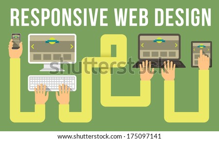 Horizontal conceptual illustration of responsive web design with a computer, laptop, tablet and smart phone connected with hands - stock vector