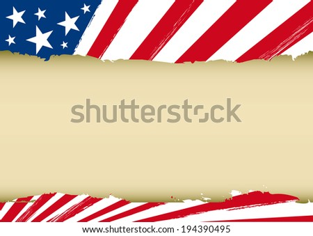Horizontal dream flag. An american background with a frame for you.  - stock vector