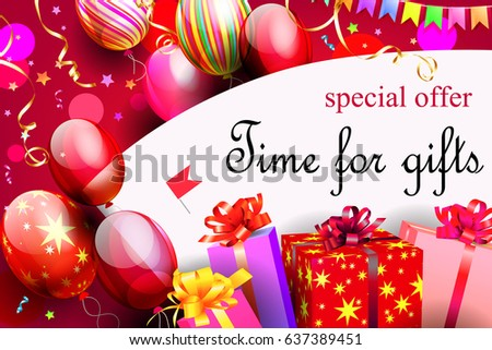Horizontal festive red background with gift boxes and balloons 1