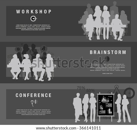 Horizontal flat banners set of business scenes, workshop, conference, brainstorm composition with people at work, studing, coworking vector illustration