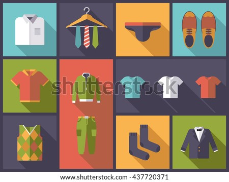 Horizontal flat design long shadow illustration with mens wear and fashion symbols