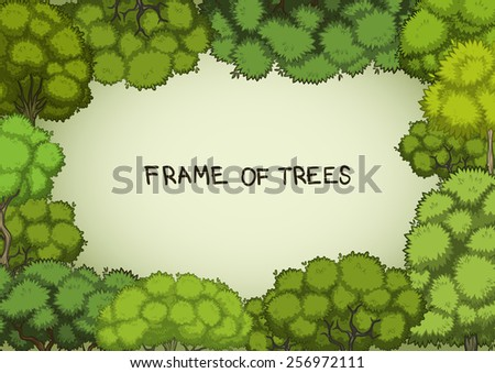Horizontal frame of the cartoon deciduous trees - stock vector