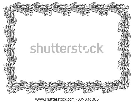 Horizontal frame with elegant tulips. Vector clip art. - stock vector