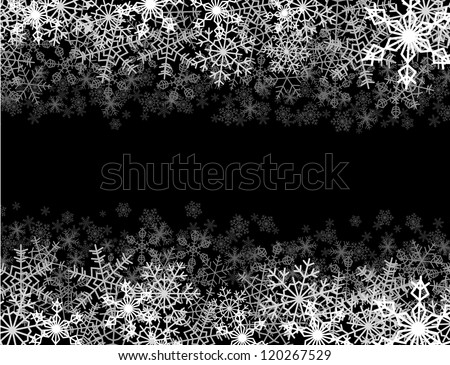 Horizontal frame with snowflakes falling into darkness - stock vector